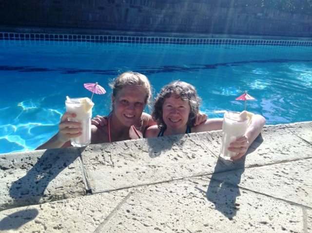 Oh look, who's in the pool with a pina colada?  It's my niece, Tianna, and me.  Nope, not in Michigan any more!