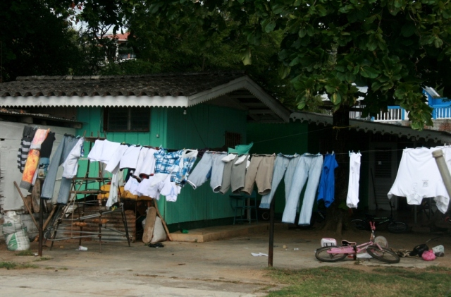 "Laundry blowing on the line.  It's the ""Windy Season"" in San Juan del Sur."