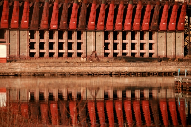 Red ore dock reflections