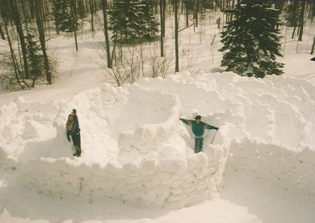 She and her brother built huge snow forts.