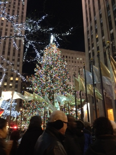 What the Christmas Tree looks like in Rockefeller Center, NYC, courtesy of daughter's phone