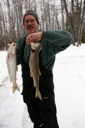 This is what Barry would have liked to serve them.  Lake trout he caught himself.  (Photo courtesy of a lucky past winter.)