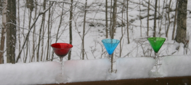 Martini glasses on the deck railing
