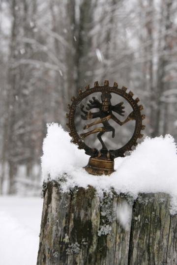 Shiva--a Hindu deity--sits on a snowy fence