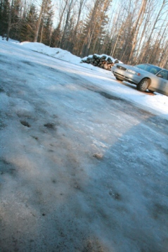 Ice in driveway. Could be something to bitch about?