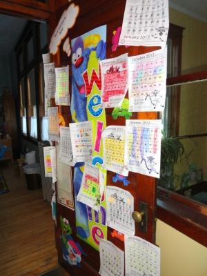 Kids' papers on the door