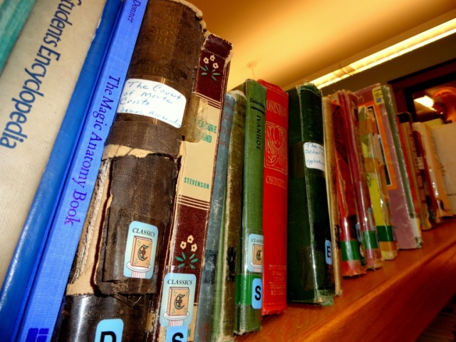 Section of very old library books