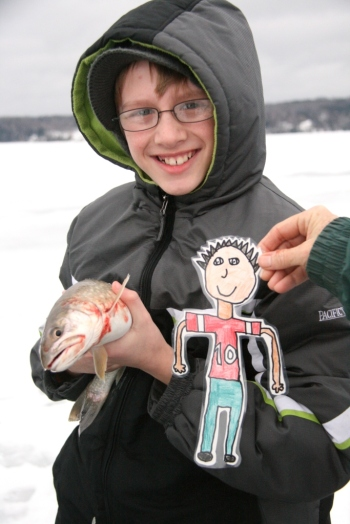 Good job, Derrick and Flat Stanley!  You caught a keeper.  What a wonderful lake trout!