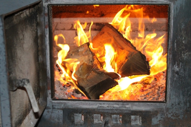 Inside our wood stove
