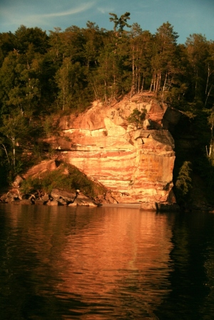 August, 2012. Barry and I take a sunset cruise from Munising to see underwater shipwrecks and sandstone cliffs.