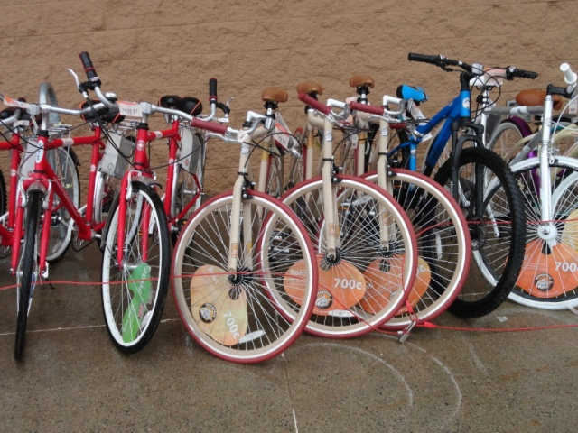 Mostly red bikes at WalMart