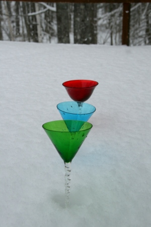January, 2013.  Martini glasses in the snow.  (We don't drink martinis!)