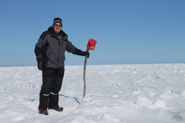 March, 2013.  Barry standing on 250 feet of water on an ice fishing trip, Keweenaw Bay.