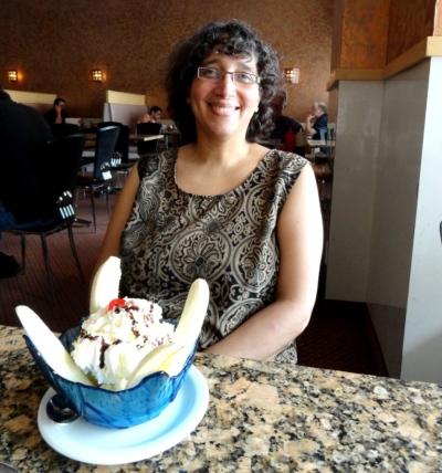 Nicole enjoys a banana split