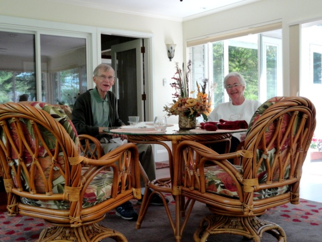 My mom and dad in their beautiful new sun room
