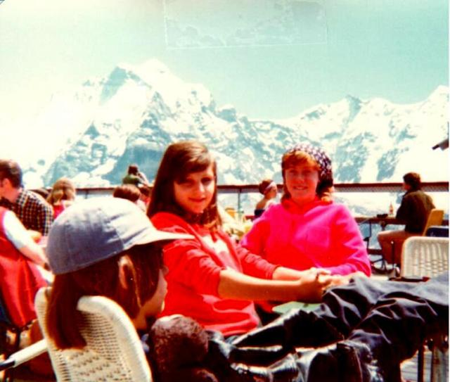 "My ""brother"" Patrick, ""sister"" Silvia and yours truly in the Swiss Alps, no kidding."
