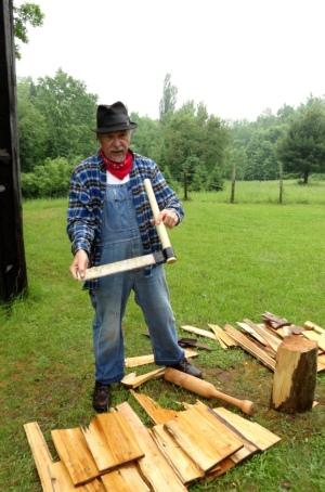 Heikki, I mean Nikolai, demonstrates how to make cedar roof shingles.