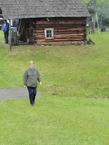 Oh look!  Here comes my good friend, Bertha, to visit the Hanka Homestead.  Hi Bertha!