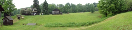 Panorama of a Finn Fest at the Hanka Homestead.  Please click to enlarge.  It's the first panorama I ever shot!