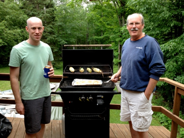 Chris and Barry grill salmon and roast corn