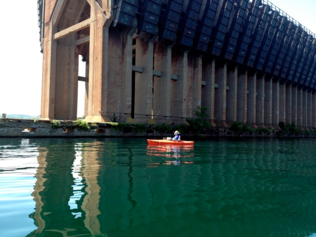 Your blogger kayaking by the ore dock in Marquette