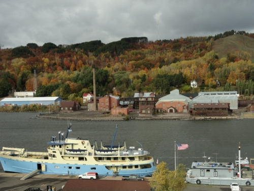 View of the Houghton Canal, the Ranger and autumn colors
