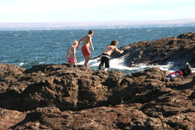 Kids will be kids...preparing to jump off the Black Rocks into Lake Superior