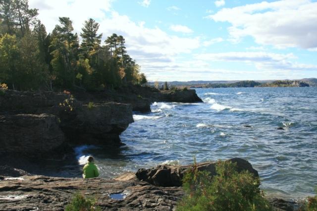 Black rocks, blue sea, autumn colors, Suzi