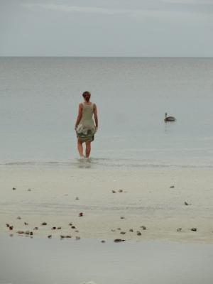 Woman wades into Gulf