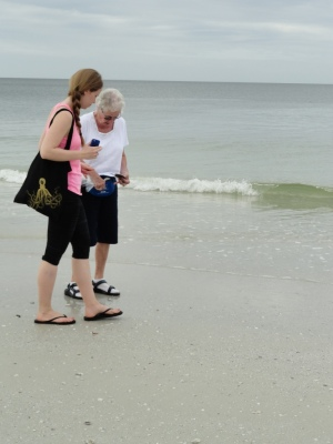 My mom and daughter shelling