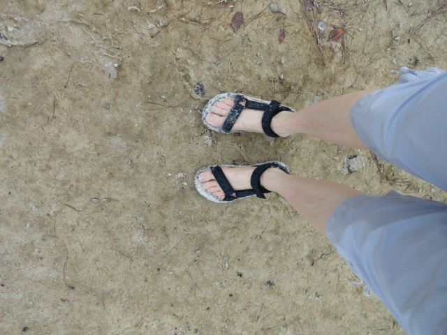 White sandy toes in Teva sandals