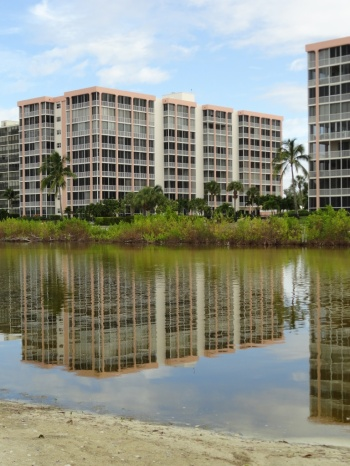 Condo reflections in the Bird Sanctuary