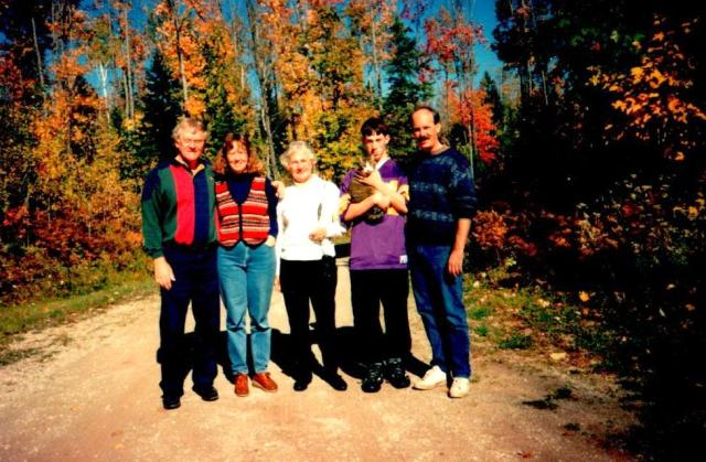 Fall  1996.  My dad, me, Mom, Chris with cat Lancelot, and Barry