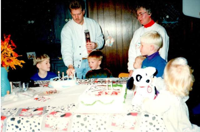 Nanny supervising one of the many family birthday parties in  1992
