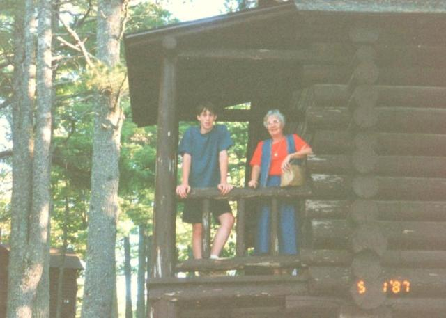 Christopher and Nanny at the lodge in Copper Harbor just before...