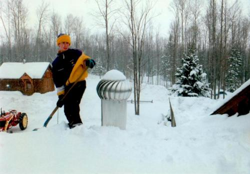 From a winter long-long ago when our junior high son helped to shovel the roof