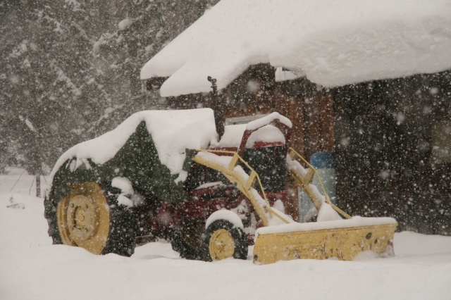 Our snowplowing tractor