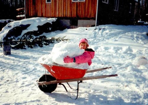 ...and our daughter hugged a snowball in a wheelbarrow...