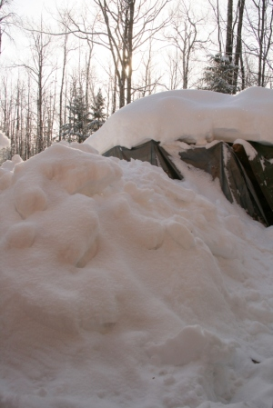 The other wood pile is inaccessible due to shoveled snow from the roof.
