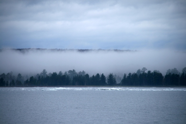Morning fog across the Keweenaw Bay in May.  Ice almost gone.