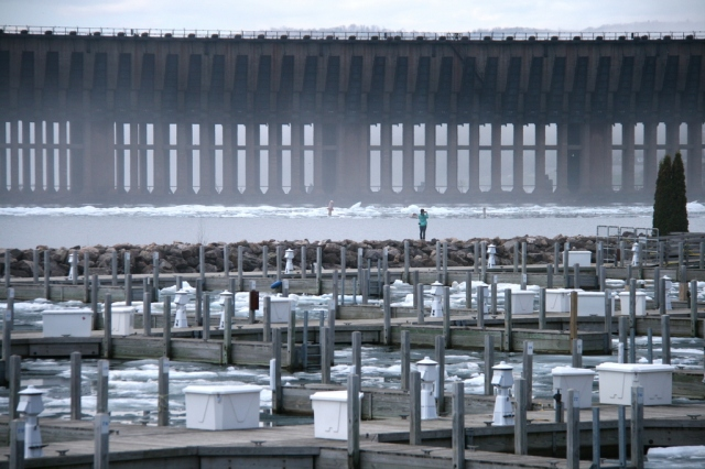 Marina and ore dock with ice