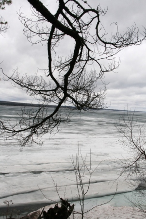 Ice melting on Keweenaw Bay