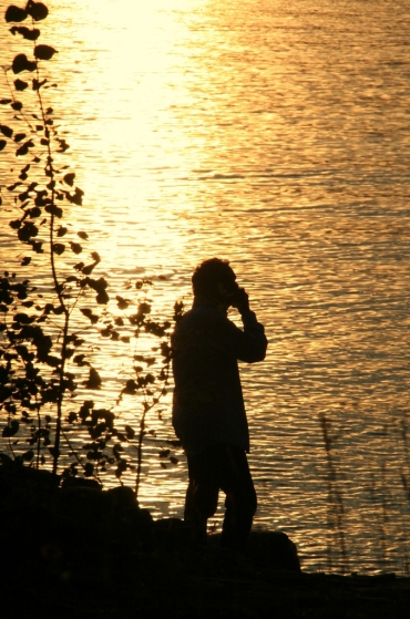 Evening silhouette against the lake