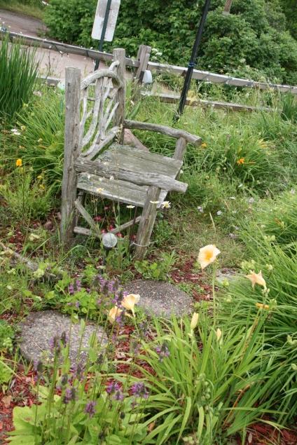Bench in a flower garden