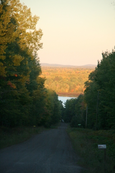Last night at dusky, looking down the road toward the Huron Bay