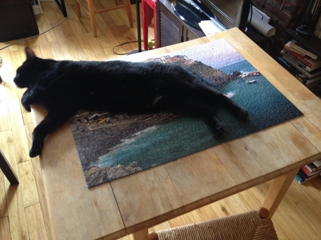 Kinder stretches out on a completed jigsaw puzzle