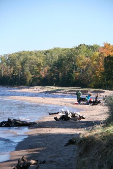 Autumn beach-goers