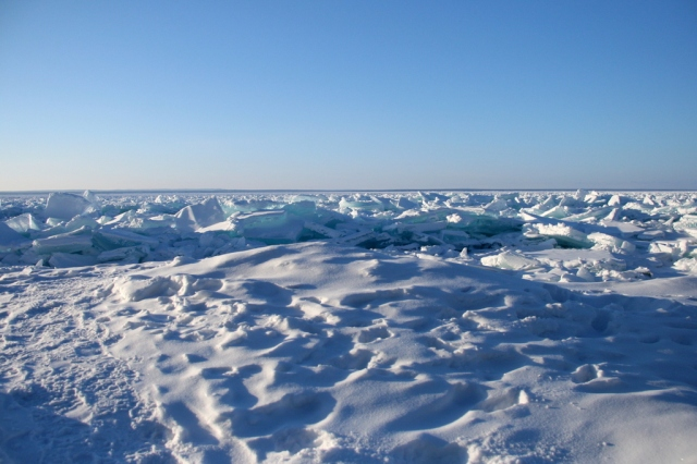 A field of jagged ice on Lake Superior