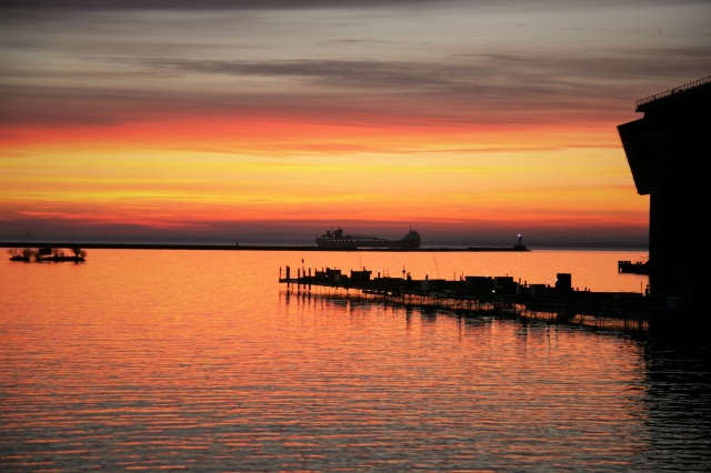 Freighter at sunrise in Marquette's Lower Harbor