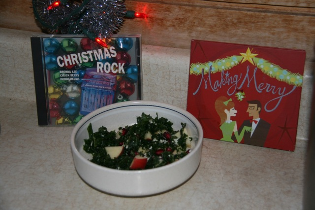 Christmas CD's and leftover kale pomegranate salad
